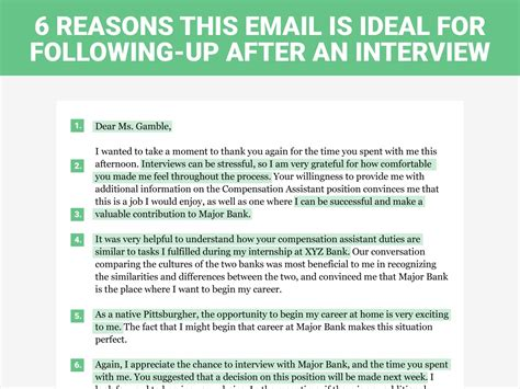 thank you email after interview follow up email example with