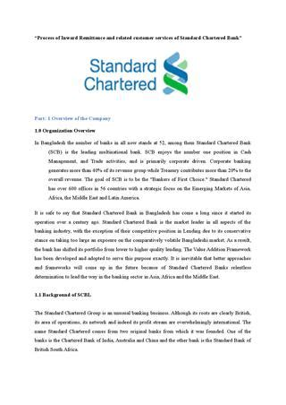 standard chartered bank statement process of inward remittance and related customer services