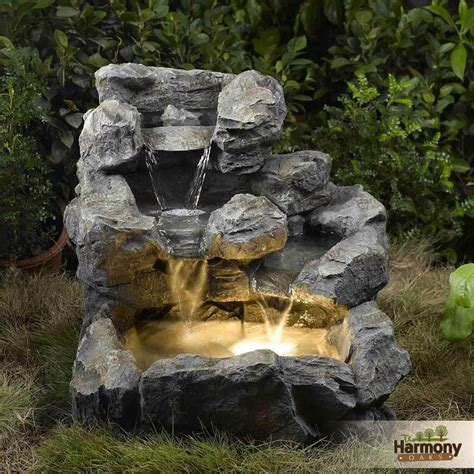 stone waterfall fountain outdoor rock water feature garden