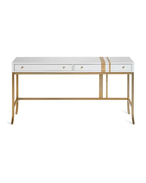 Gold Writing Desk by Cynthia Rowley For Furniture Side Stripe Accent