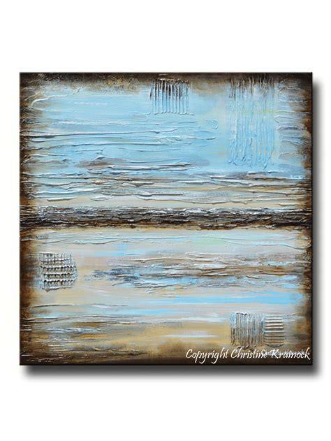 light blue and brown giclee print blue abstract painting blue brown modern