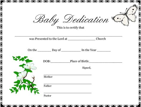 baby dedication certificates templates baby dedication certificate 1 professional and high
