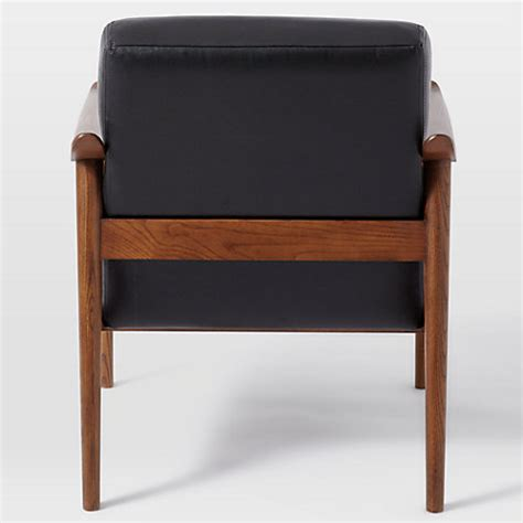 mid century leather show wood chair west elm buy west elm mid century leather show wood chair nero