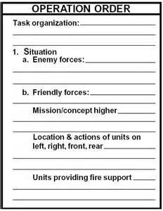 Opord Template by Plan Operation Order Opord Armystudyguide