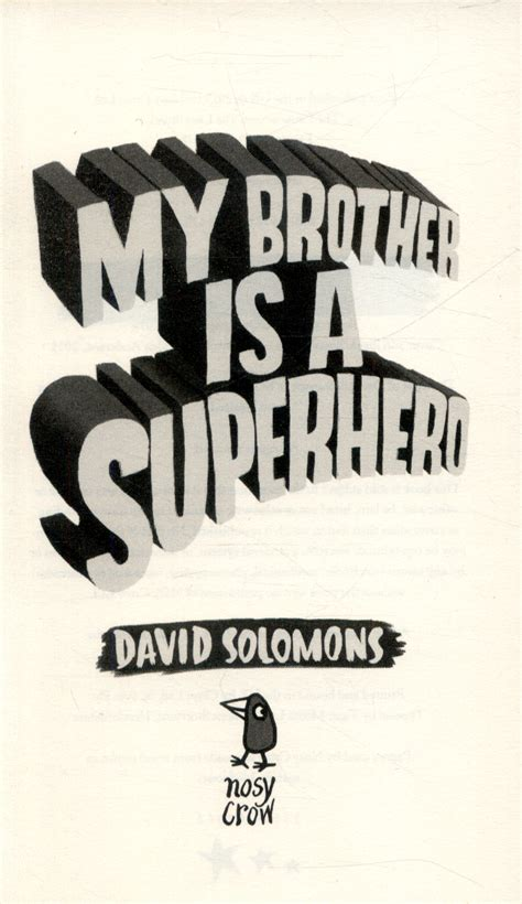 my brother is a superhero by solomons david 9780857634795 brownsbfs