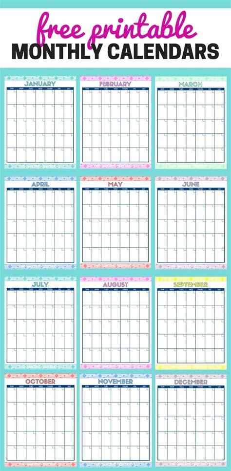 cute  printable monthly calendars organizing moms