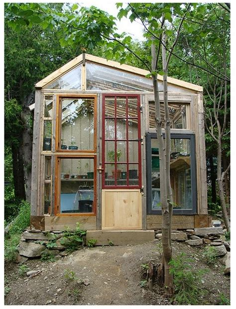 Greenhouse From Salvaged Windows Decor Glass Recycling For Greenhouse Designs And Garden Houses Built With Salvaged Wood Windows