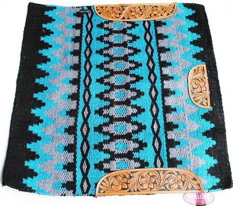 show rugs 34x36 wool western show trail saddle blanket rodeo pad rug blue 36326c ebay
