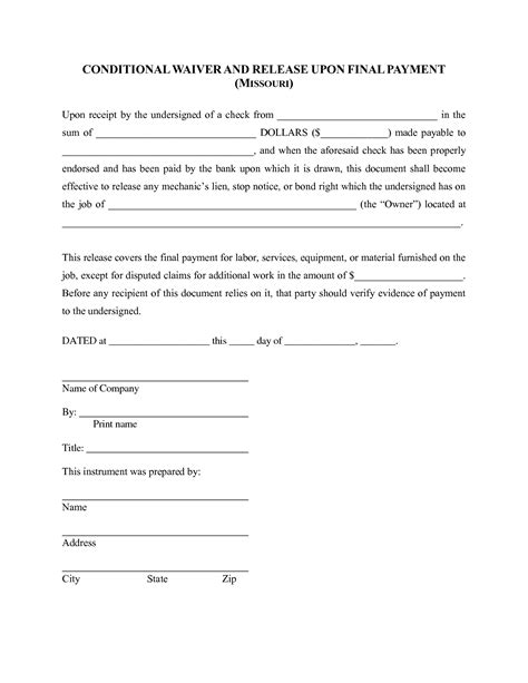 best photos of free lien waiver print free lien waiver