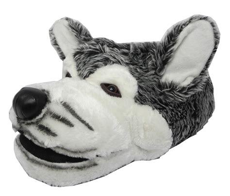 wolf slippers adults mens boys novelty fur husky wolf animal
