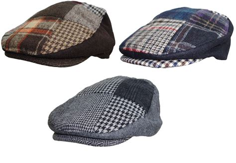 Mens Patchwork - mens patchwork flat cap tweed country hat peaked country