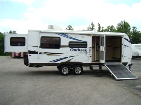 outback toy hauler travel trailer rv sales 2 floorplans rv parts 2011 outback 230rs bunkhouse rear slide travel
