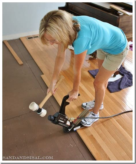 Installing Hardwood Laminate Flooring No Tools No Problem H D To The Rescue Sand And Sisal