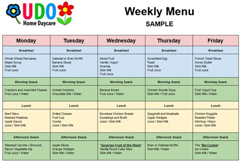 nursing home menu planning blank lunch menus for daycare calendar template 2016