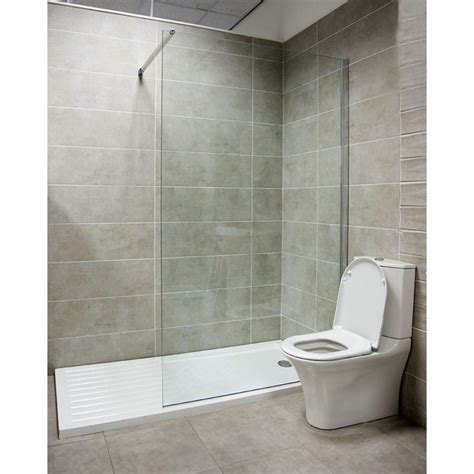 Fixed Glass Bath Shower Screen by Oxford 880mm Walk In Fixed Shower Screen 10mm Toughened
