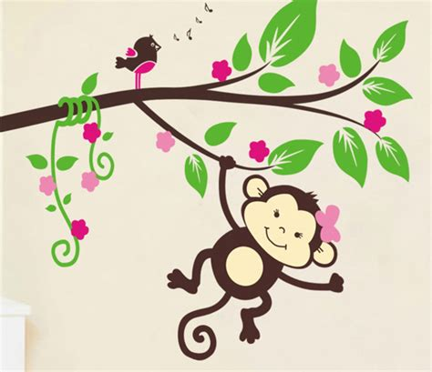 Baby Room Wall Decorations Stickers monkey baby girl cartoon