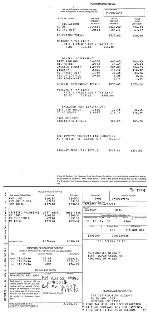 Jackson County Oregon Property Tax Records 1996 97 Property Tax Statement Ashland Tax