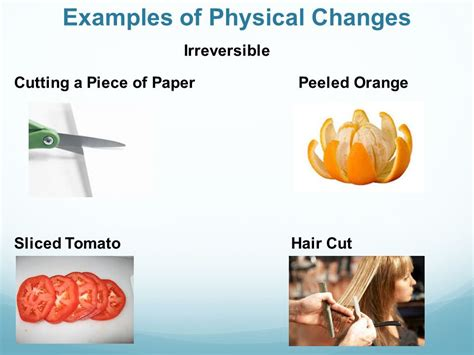 exle of physical change physical and chemical changes ppt