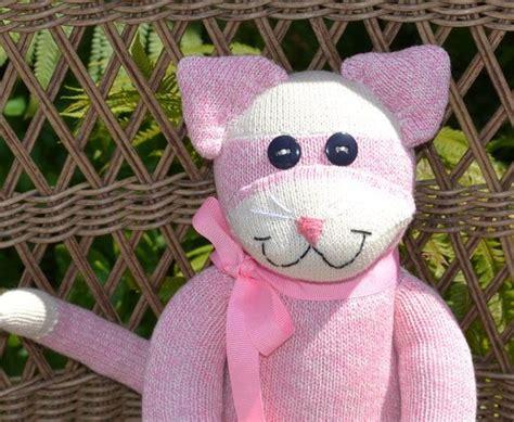 sock monkey cat sock monkey cat doll with or without personalized choice of colors cats