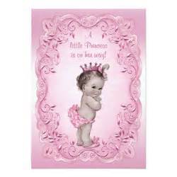 pink vintage princess baby shower invites