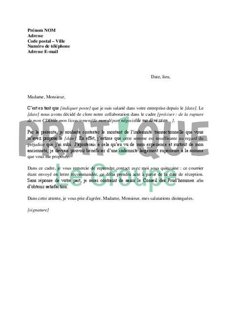 lettre contestation retrait argent lettre contestation de l indemnit 233 transactionnelle 224 employeur pratique fr