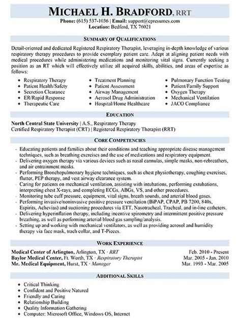 Respiratory Therapist Description Resume resume sles types of resume formats exles and