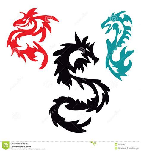 tribal tattoo dragon vector illustration pattern with asian dragon tribal tattoo stock vector