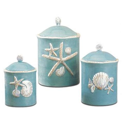 shell canisters pinteres lovely beach themed kitchen canisters 62 regarding home