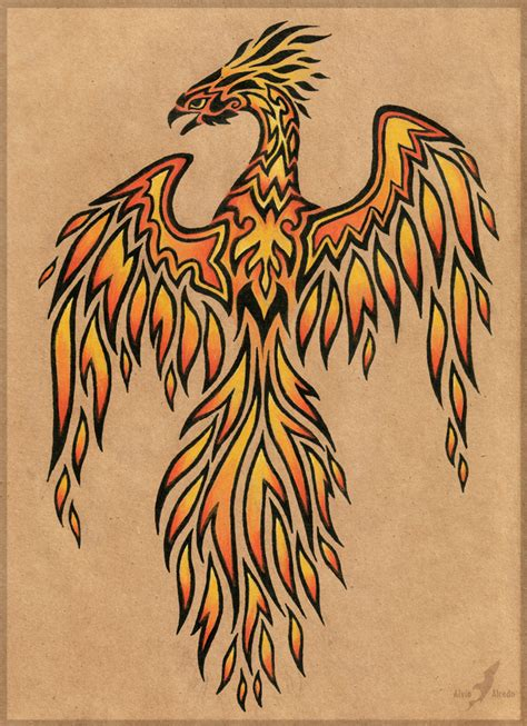 phoenix tattoo art flame phoenix tattoo design by alviaalcedo on deviantart