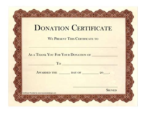 9 best images of printable certificates of donation