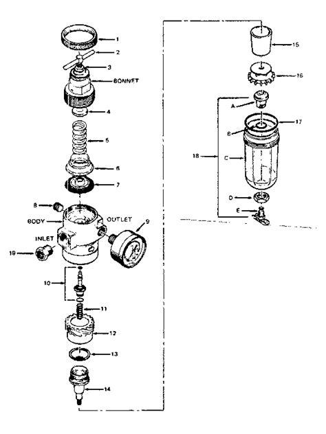 air pressure regulator diagram craftsman sears air line filter regulator and parts