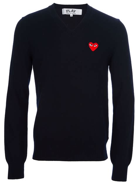 Sweater Comme Des Garcons Abu Brothersapparel play comme des gar 231 ons heat logo v neck sweater in blue for navy lyst