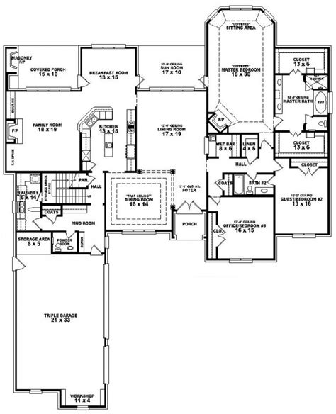 654275 3 Bedroom 3 5 Bath House Plan House Plans Three Bedroom Floor Plan House Design