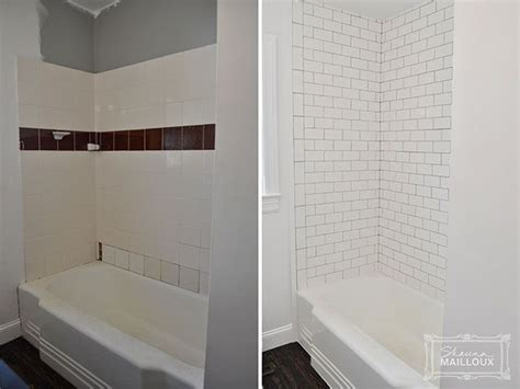 white subway tile with gray grout for a vintage look