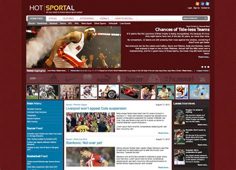 newspaper theme login joomla sports template hot sportal hotthemes