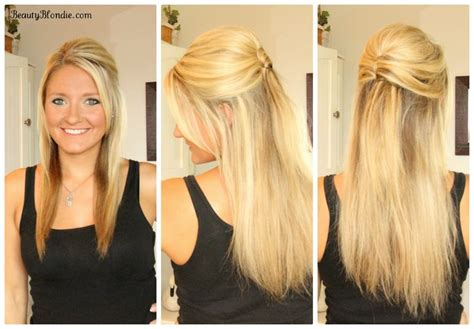 hairstyles for long straight hair tutorials half up half down upside down french twist hair tutorial