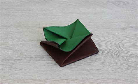 Origami Coin Purse - origami leather coin purse row brown and bunker green