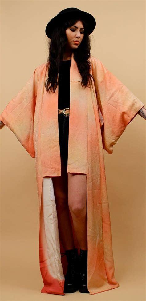 Blousee Kimono Ikat Tali 60s 70s vtg antique ombre tie dye kimono japanese floor length duster jacket sm med