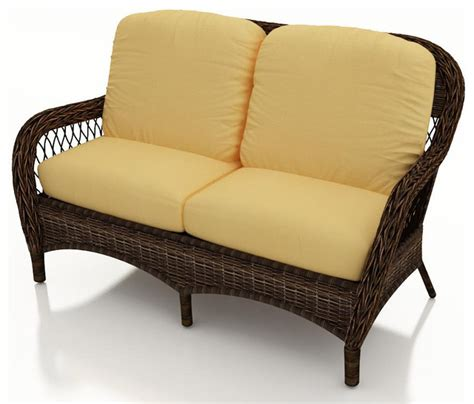 Outdoor Patio Loveseat by Leona Wicker Patio Loveseat Canvas Wheat Cushions