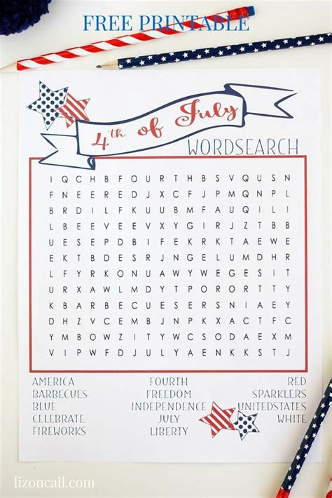 printable word search fourth of july 4th of july word search fun before the fireworks she liz
