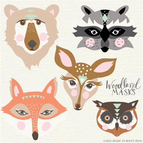 free printable animal eye masks printable woodland masks fox bear doe raccoon and owl