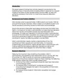 Market Research Project Report Sample Research Proposal Template 11 Free Samples Examples