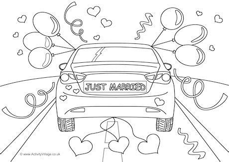 Ausmalbild Auto Just Married by Just Married Colouring Page