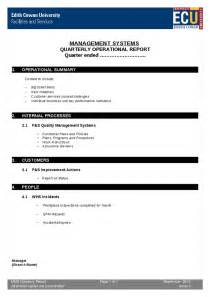 management systems quarterly operations report template