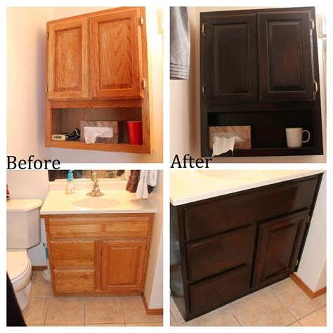 staining oak cabinets before and after staining oak bathroom cabinets no regrets living
