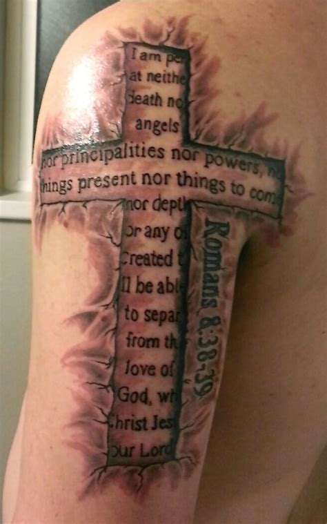 amazing cross with biblical quotes tattoo on half sleeve