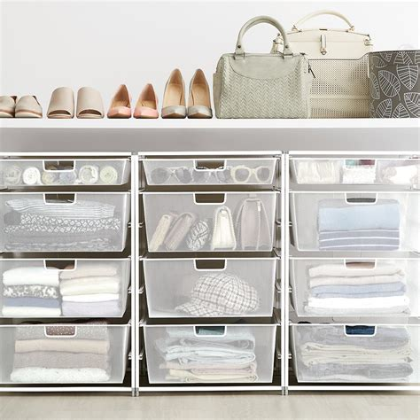 mesh closet drawers white elfa mesh start a stack the container