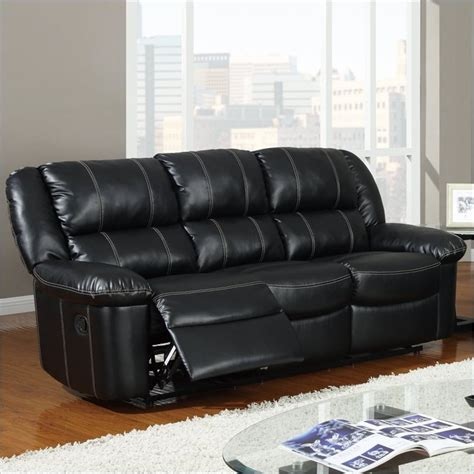 global furniture usa 9966 reclining black leather sofa