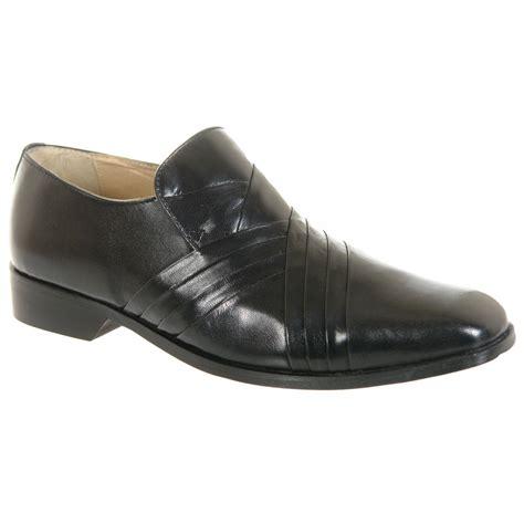 mens gents black leather slip on desiner formal shoes