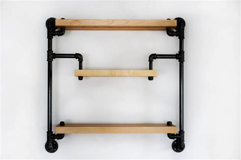 iron pipe shelving hanging industrial style shelf in black iron pipe and butcher